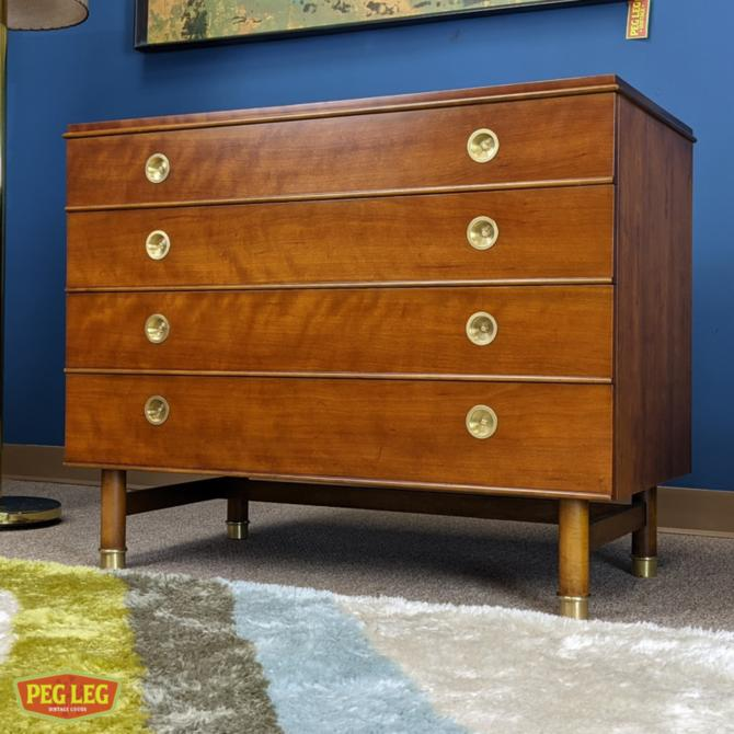 Mid-Century Modern bachelor's chest with brass details by Renzo Rutili for Johnson Furniture