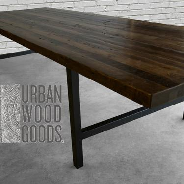 """Solid Wood Dining table in standard 2.5"""" top reclaimed wood planks and steel legs in your choice of color, size and finish by UrbanWoodGoods"""