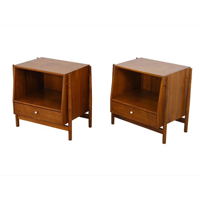 Pair Of Mid Century Drexel Declaration Walnut Side Tables