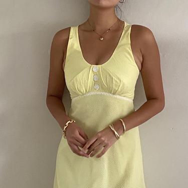 70s halter maxi dress / vintage daisy yellow organza Swiss dot halter ankle length cocktail hostess maxi dress   XS size 2 by RecapVintageStudio