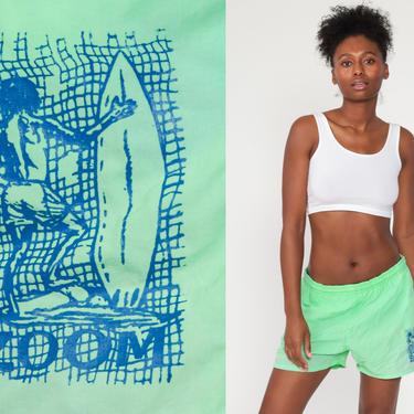 Neon Swim Shorts Lime Green Swim Trunks 90s Bathing Suit Surfer 80s Swim Bottoms Vintage Surf Swimsuit Vintage Retro Medium Large by ShopExile
