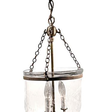 19th Century English Clear 9.25 in. Bell Jar Pendant Lantern