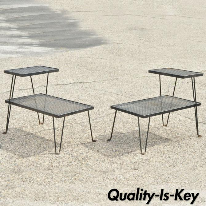 Pair 2 Tier Mid Century Modern Atomic Era Hairpin Leg Iron Step End Tables