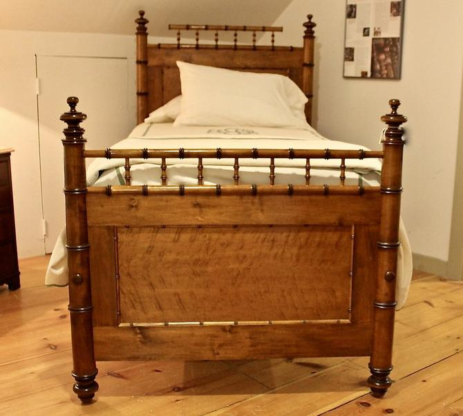 Reproduction Faux Bamboo Bed in maple & Birds Eye Maple in Standard Twin