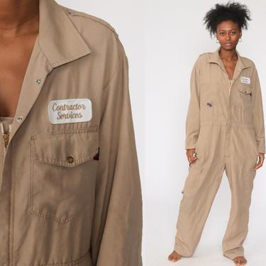 Tan Boiler Suit 80s Coveralls Pants Jumpsuit Boilersuit Workwear Coverall Uniform One Piece Work Wear Vintage Pantsuit Mechanic Large 44 R by ShopExile