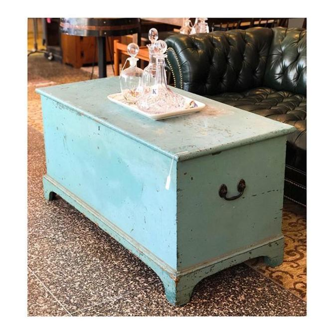 Charming duck egg blue painted chest