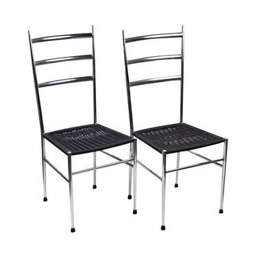 Pair Italian Mid Century Modern Gio Ponti Style Side Ladder Back Dining Chairs by PrairielandArt