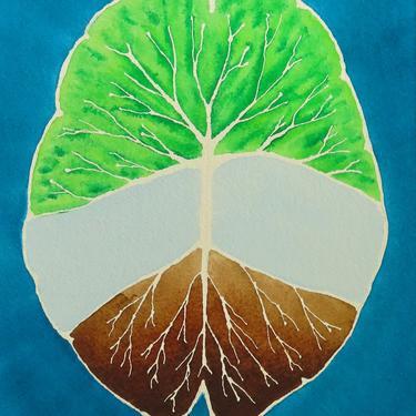 Deep Root and Branch Brain -  original watercolor painting - neuroscience art by artologica