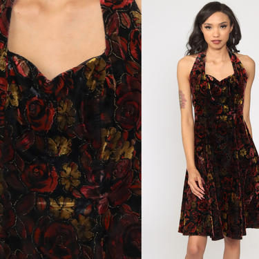 Velvet Mini Dress 90s HALTER NECK Party Grunge Metallic Floral Dress 1990s Sweetheart Neckline Cocktail Vintage Red Extra Small xs by ShopExile