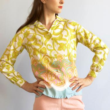 60s mid century lime green paisley blouse / S XS by EELT