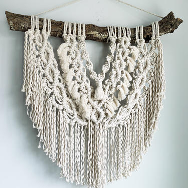 Large Macrame Wall Hanging with natural wooden dowel by JungleandLoom