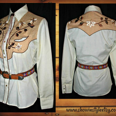 Karman Vintage Western Cowgirl Shirt, Rodeo Queen Blouse, Embroidered Flower Designs, Tag Size 8, Approx. Small (see meas. photo) by ShowinStyle
