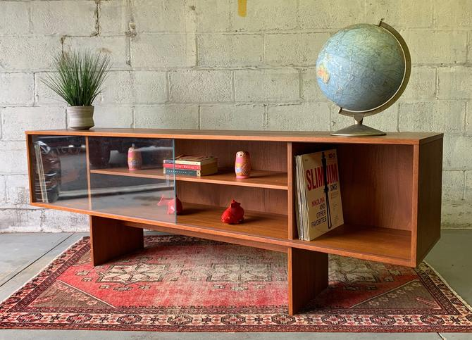 Long + Low Mid Century MODERN Danish TEAK BOOKCASE / credenza by CIRCA60