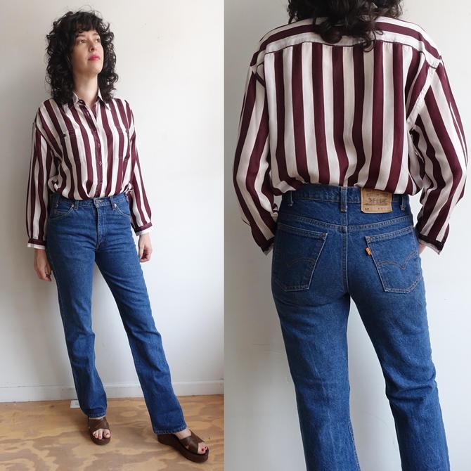 Vintage Orange Tab Levi 517 Straight Leg Denim/ Levi Strauss Medium Wash High Waisted Jeans/Made in USA/ Size 32/34 Ladies Medium by bottleofbread