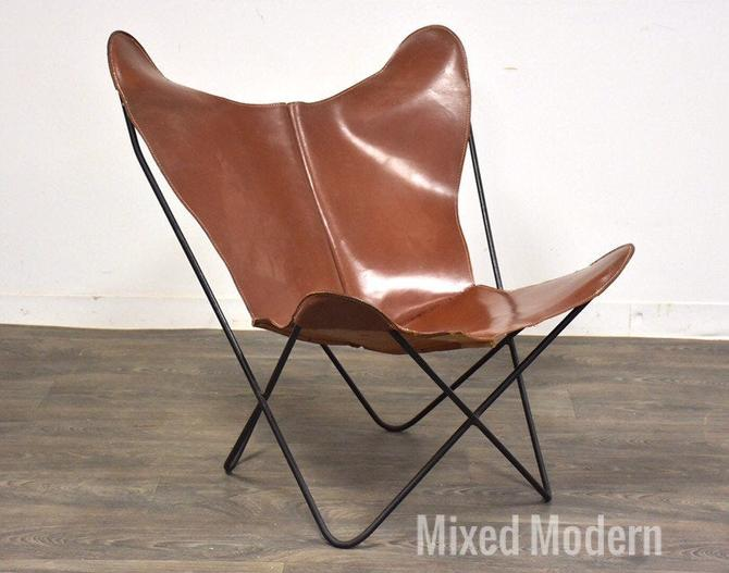 Jorge Ferrari-Hardoy Leather and Iron Butterfly Lounge Chair by mixedmodern1