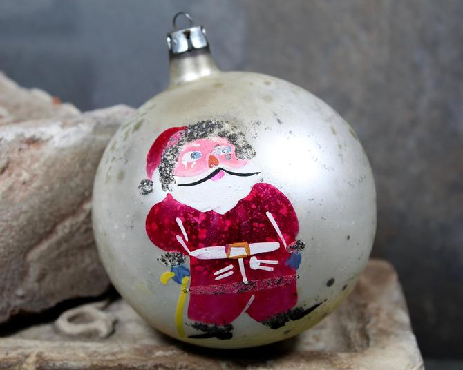 Hand Painted Polish Glass Christmas Ornament - Vintage Santa for Your Vintage Christmas Tree! - Pink and White   FREE SHIPPING by Bixley
