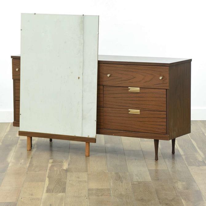 Mid Century Modern Long Dresser W Dressing Mirror