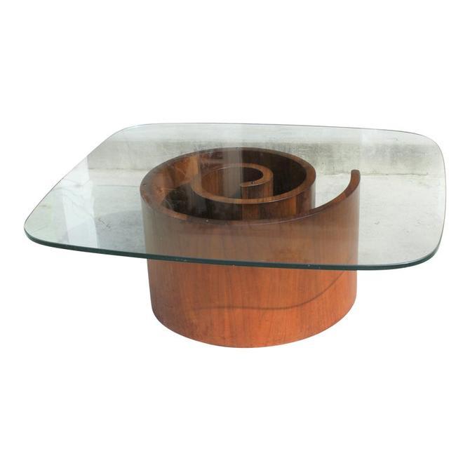 Vladimir Kagan Glass Top Snail Coffee Table Midcentury Modern Selig