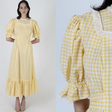 Yellow Gingham Maxi Dress / Vintage 70s White Cottagecore Dress / Checkered Picnic Style Dress / Womens Checker Folk Porch Dress by americanarchive