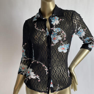 Black Lacy Blouse with Blue Flowers fits S - M Vintage Guess Jeans by BeggarsBanquet