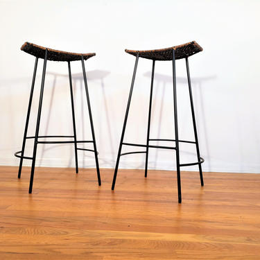 Mid Century Pair of Wrought Iron and Rattan Bar Stools by ProRefineFurnishings