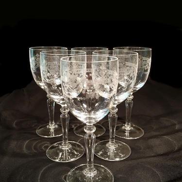 Vintage Crystal Stemware Needle Etched Wine Glasses Set of Six (6) by BellewoodDesignGoods