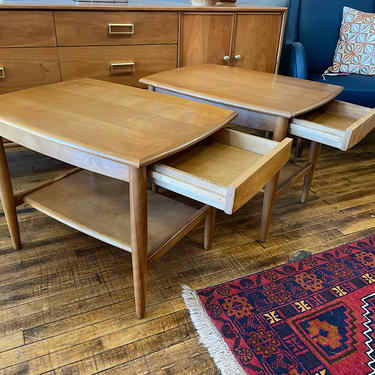 Pair of Conant Ball Maple End Tables w\/single drawer