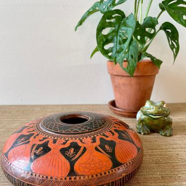 Vintage Vase - Round Tribal Vase - Orange and Black Decor - Boho Decor - Costa Rica - Hand Made Vase by SoulfulVintage