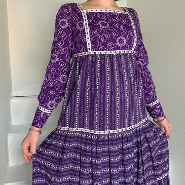 1970s Purple Floral Bohemian Maxi Dress 32 Bust Vintage Hippie Festival Cottagecore Farmcore Prairie by AmalgamatedShop