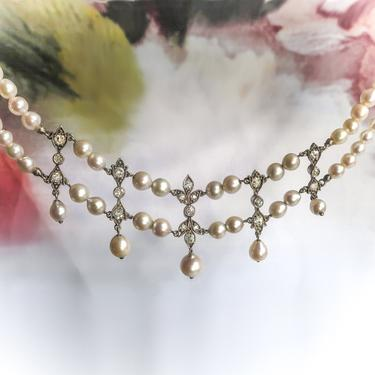 Antique Pearl Diamond Necklace Victorian 1.16ct t.w. Old European Cut Old Mine Cut Freshwater Pearl Double Row Princess Wedding Silver by YourJewelryFinder