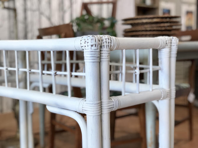Rattan Bar | Bamboo Bar | White Bar | White Table | Glass Bar | White Rattan Bar | Lanai | Boho by PiccadillyPrairie