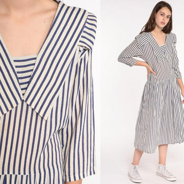 80s Sailor Dress 80s Midi Nautical Collar Drop Waist Striped White Blue 1980s Long sleeve Preppy Vintage Pleated Small by ShopExile