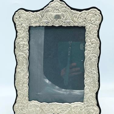 Vintage Ornate Floral Silver Plated Picture Frame Black Velvet Back Holds 5x7 Picture- International Silver Co. by JoAnntiques
