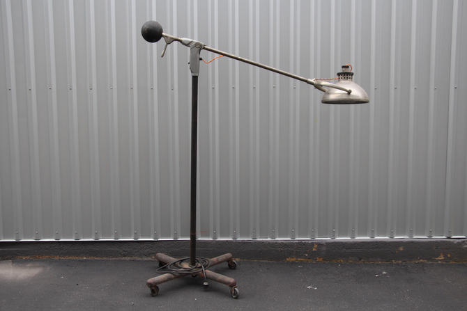 Vintage Industrial Light on Cast Iron Base