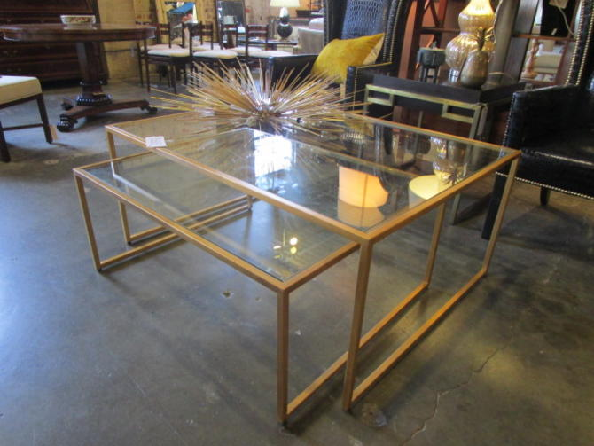 LARGE GOLD WASH NESTING COFFEE TABLES
