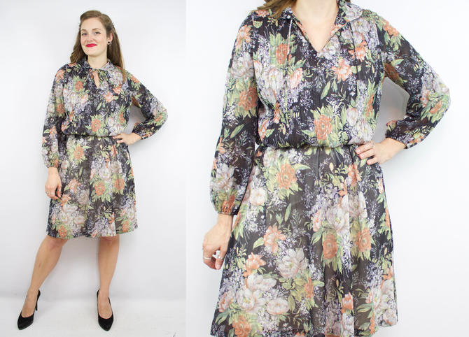 Vintage 70's Black Semi-Sheer Floral Long Sleeve Dress / 1970's Fall Dress / Women's Size Large/XL by RubyThreadsVintage
