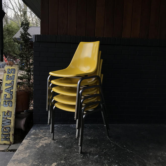 Vintage Yellow Bowling Alley Cafe Dining Chairs Mid-Century Modern 1960s Retro Atomic Ranch Fiberglass Shell by BrainWashington