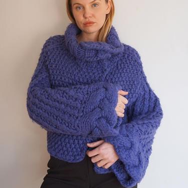 Alberta Ferretti Wool + Alpaca Knit Bell Sleeve Cropped Sweater Shrug Asymetrical Cardigan Wrap Cowl Neck Purple Braided XS S M by backroomclothing