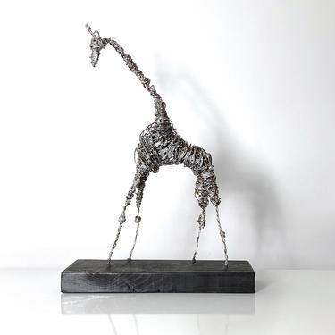 """20"""" Mid Century Brutalist Wire Giraffe Sculpture 1970s by 20cModern"""