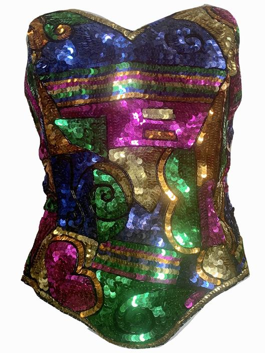 Julie Duroche for After Five 80s Rainbow Sequin Bustier