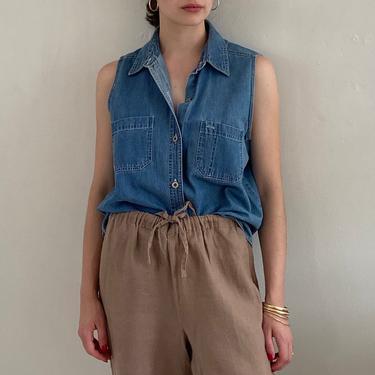 90s Bill Blass denim pocket shirt / vintage faded soft blue denim sleeveless blouse shirt   M L by RecapVintageStudio