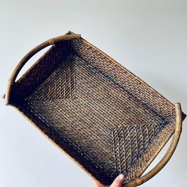 Large Rectangular Basket Tray with Handles | Woven Serving Tray | Wood Handles | Boho | Coffee Table Tray | Entryway Table by PiccadillyPrairie