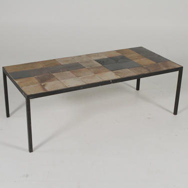 Mid-Century Iron And Tile Coffee Table