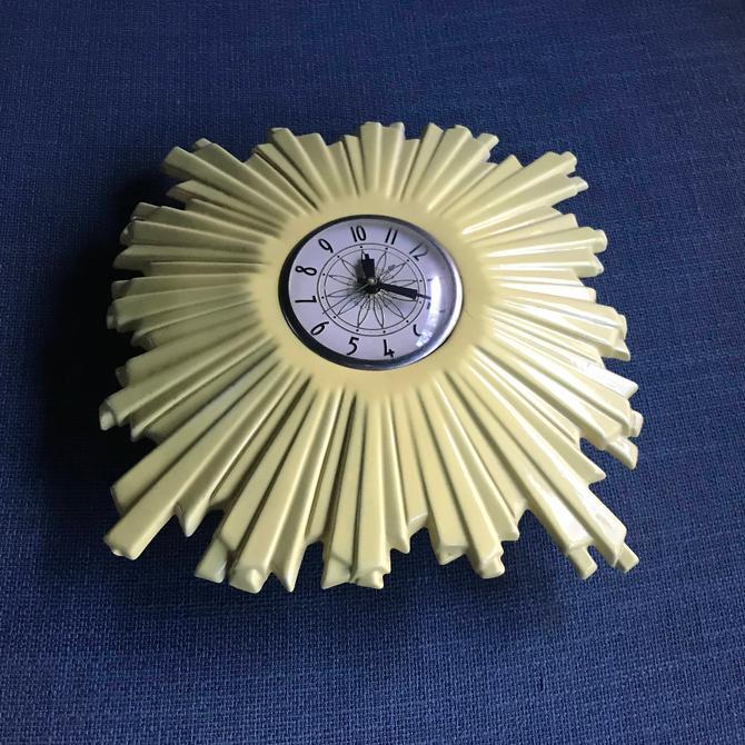 Vintage 50s Mid-Century Starburst Yellow Ceramic Wall Clock Lanshire Movement by BrainWashington