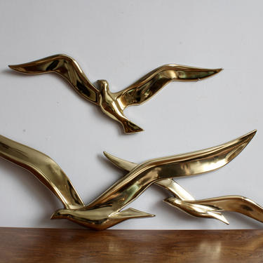 Mid Century Metallic Gold Wall Hanging Bird Sculpture, MCM, Mod, Retro, 70s, Funky, Wall Art, Flying Birds, 3D Art, Boho, Eclectic, Glam by FORAGEmodernhome