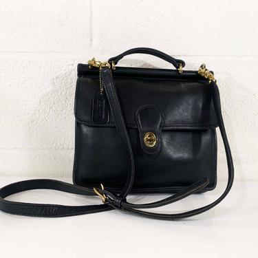 Vintage Coach Willis Top Handle Bag 9927 Black Leather Crossbody Bag Minimalist Shoulder Purse Handbag Minimalist Legacy Flap Brass Hardware by CheckEngineVintage
