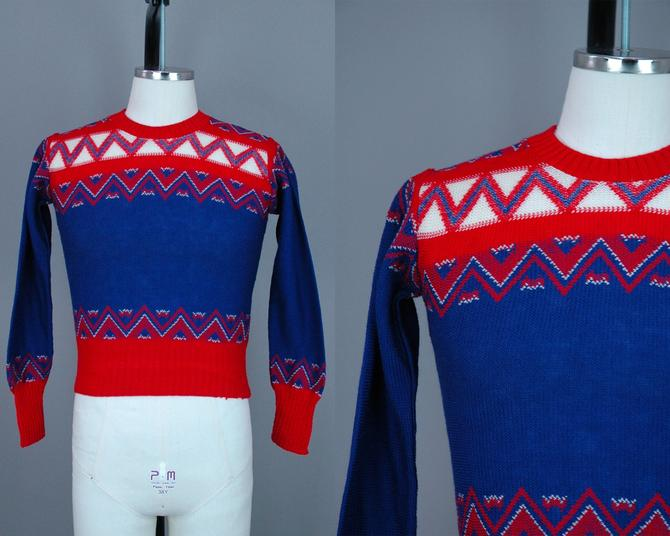 1950s Deadstock Sweater | Vintage 40s 50s Blue, Red, & Cream Pullover | xs / small by RelicVintageSF