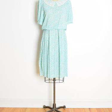 vintage 80s secretary dress aqua floral print lace crochet doily collar midi M clothing by huncamuncavintage