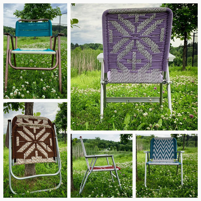 Macrame Lawn Chair | Folding Lawn Chair | Aluminum Lawn Chair | Webbed Lawn Chair | 1960s Lawn Chair | Outdoor Furniture by PiccadillyPrairie