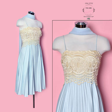Sky Blue Lace Vintage Designer Dress, 1960's Pleated Evening Party Dress, Baby doll 60's dress, Mod A line gown by Boutique369